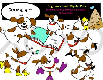 Dog Loves Boots Clipart Pack