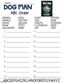 Dog Man Book 1 Abc Order Worksheet
