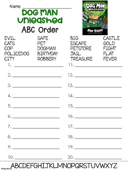 Dog Man Book 2 Abc Order Worksheet