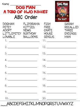 Dog Man Book 3 Abc Order Worksheet