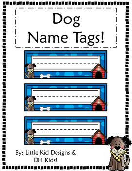 Dog Name Tags - Blue Style - Printable Name Tags
