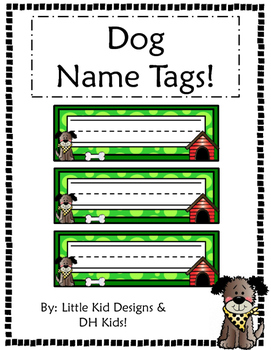 Dog Name Tags - Green Style - Printable Name Tags