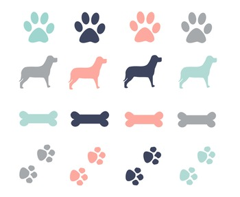 Dog Paws & Bones Clipart, Dog, Paws, Bones, Set #196