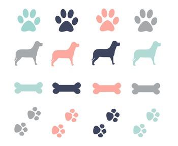 Dog Paws & Bones Clipart, Dog, Paws, Bones, Set #196
