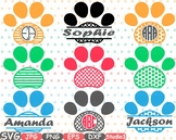 Dog Paws Chevron Frames Split Circle clipart paw frame pet love puppy svg -690s