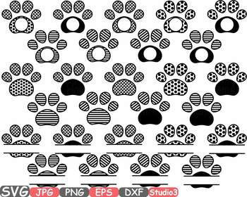 Dog Paws Chevron Frames Split Circle clipart paw frame pet love puppy svg -691s