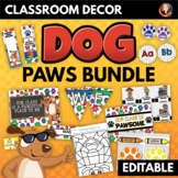 Dog Paws Theme Classroom Decor and Activities Bundle Editable
