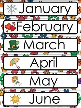 Dog Paws Theme Calendar and Class Schedule - Editable