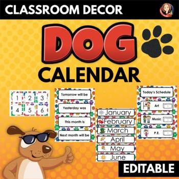 Dog Paws Decor Calendar and Class Schedule Editable