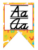 Dog (Pet) D'Nealian print and cursive Alphabet banner