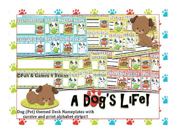 Dog (Pet) themed Desk Nameplates with Cursive and Print al