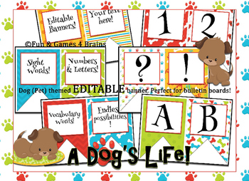 Dog (Pet) themed EDITABLE bulletin board banners