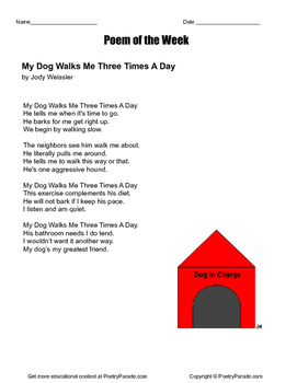 "Dog Poem (Poetry), Poem of the week called ""My Dog Walks Me Three Times a Week"""