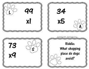 Double Digit x Single Digit Multiplication Task Cards with Dog Riddles