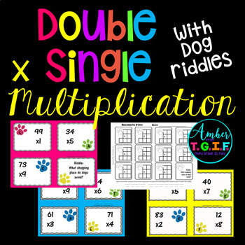 Double Digit x Single Digit Multiplication Task Cards with