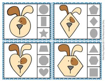 Dog Shapes Clip Cards