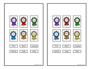 Dog Show Ordinal Number Activity Page