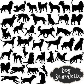 Dog Silhouette Clip Art Black Dog Silhouettes Clipart Scrapbooking Dog Element