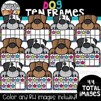 Dog Ten Frames Clipart {Math Clipart}