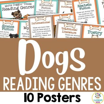 Dog Theme:  10 Reading Genre Posters