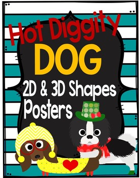 Dog Theme 2D and 3D Shapes Posters