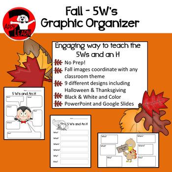Fall / Seasonal 5W's and an H Graphic Organizer