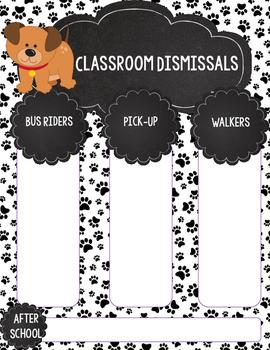 Dog Theme After School Dismissal Printable for Teacher Binder