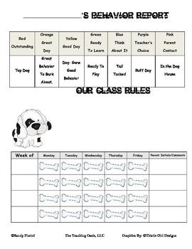Dog Theme Behavior Clip Chart