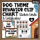 Dog Theme Behavior Clip Chart, Behavior Chart and Certificates- Editable