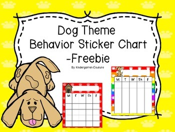 Dog Theme Behavior Sticker Chart -Freebie