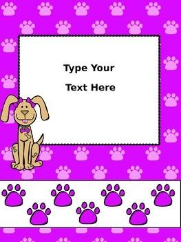 Dog Theme Binder Covers -Editable