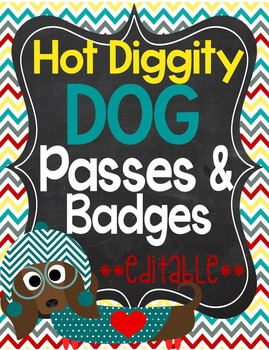Dog Theme Classroom Passes and Badges **editable**