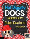 Dog Theme Classroom Rules Posters *editable*
