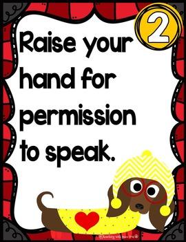 Dog Theme Classroom Rules Posters *editable*