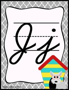 Dog Theme Cursive Alphabet Posters