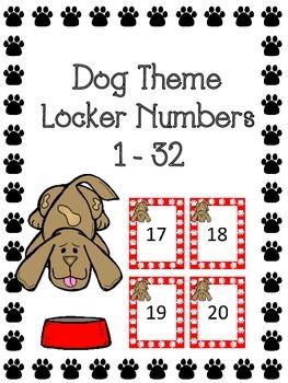 Dog Theme Locker Numbers or Number Cards 1 - 32- Freebie