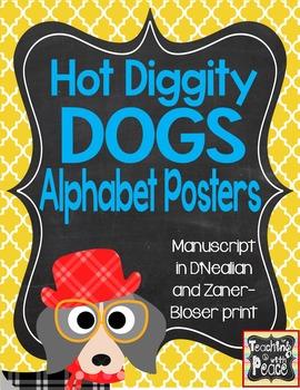 Dog Theme Manuscript Alphabet Posters