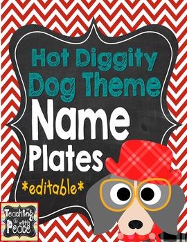 Dog Theme Name Plates *editable*