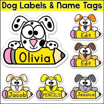 Dog Theme Name Tags - Puppy Theme Back to School Classroom Decor
