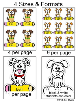 Dog Theme Name Tags - Puppy Theme Classroom Decor