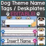 Dog Theme Name Tags Desk Name Plates Editable