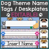 Dog Theme Name Tags Desk Name Plates Editable