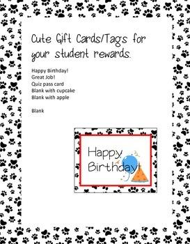 Dog Theme Paw Print Passes for Gifts, Homework Passes, Birthday Passes