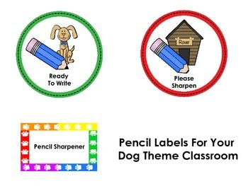 Dog Theme Pencil Can Labels -Freebie
