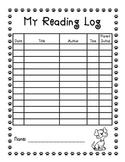 Dog Theme Reading Log