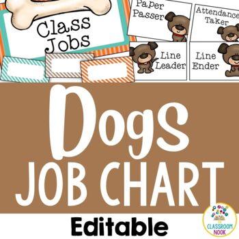 Dog Theme: Student Job Chart (Editable)