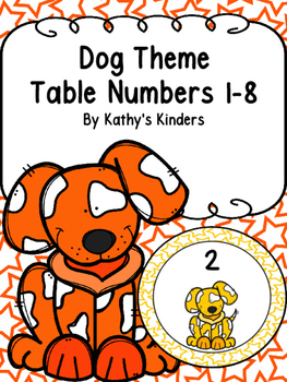 Dog Theme Table Numbers 1-8