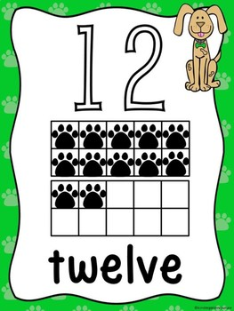 Dog Theme Ten Frame Number Posters 11-20
