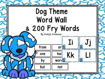 Dog Theme Word Wall & 200 Fry Words