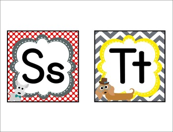 Dog Theme Word Wall Headers and Title Pennants **editable**